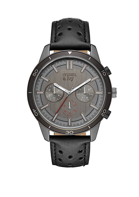 Silas Gunmetal and Black Perforated Leather Strap Multi Function Watch