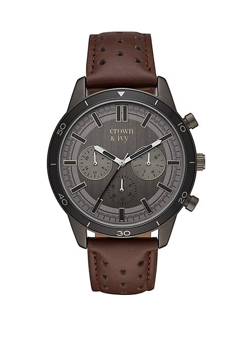 Silas Gunmetal and Brown Perforated Leather Strap Multi Function Watch