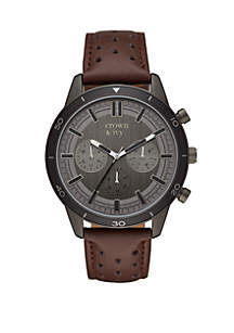 Crown & Ivy™ Silas Gunmetal and Brown Perforated Leather Strap Multi Function Watch