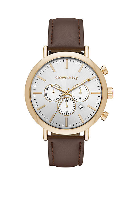 Gold Tone Whitaker Multifunction And Leather Strap Watch