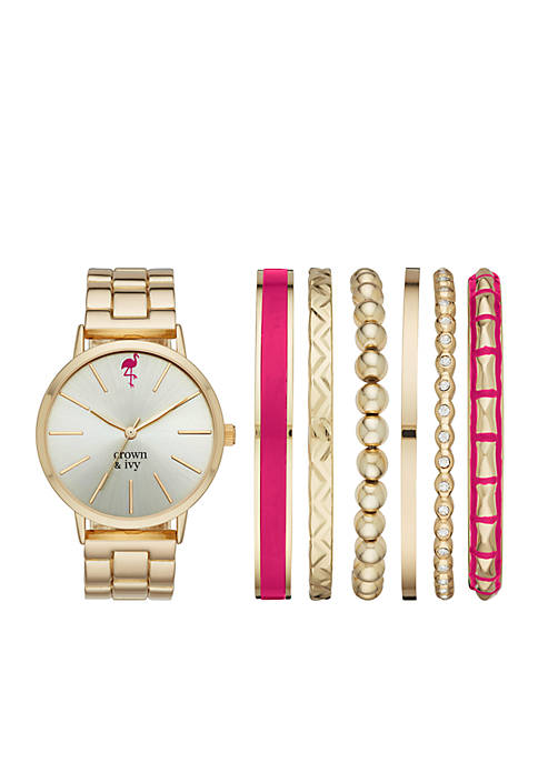 Crown & Ivy™ Womens Gold-Tone Boyfriend Watch &