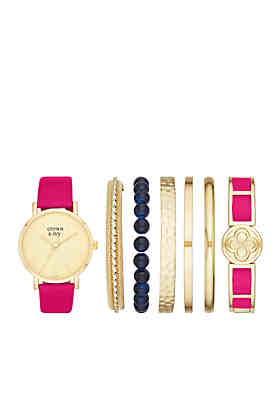 0d82d811fff6 Crown   Ivy™ Women s Gold-Tone   Genuine Leather Strap Watch ...