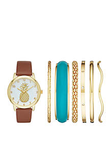 Women's Gold-Tone & Genuine Leather Strap Watch with Bracelet Set