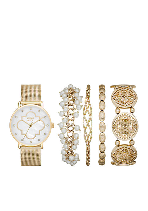 Crown & Ivy™ Gold Pearl Watch Mesh Set