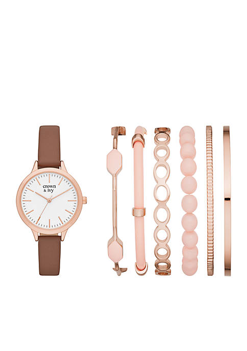 Crown & Ivy™ Rose Gold Watch and Bracelet