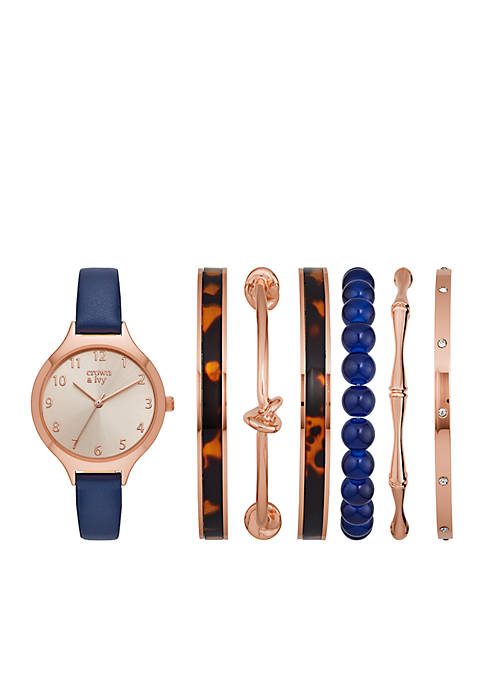 Crown & Ivy™ Navy Strap Rose Gold-Tone Metal