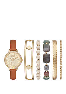 Gold-Tone Textured Dial Watch Set