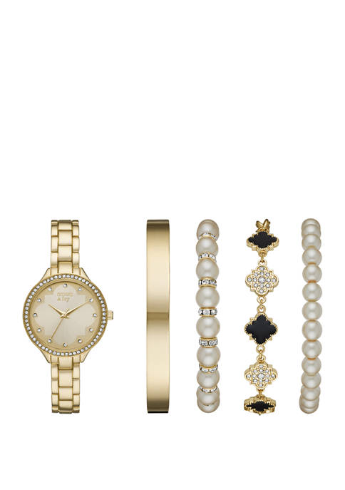 Gold Pearl Black Glitz Watch and Bracelet Set