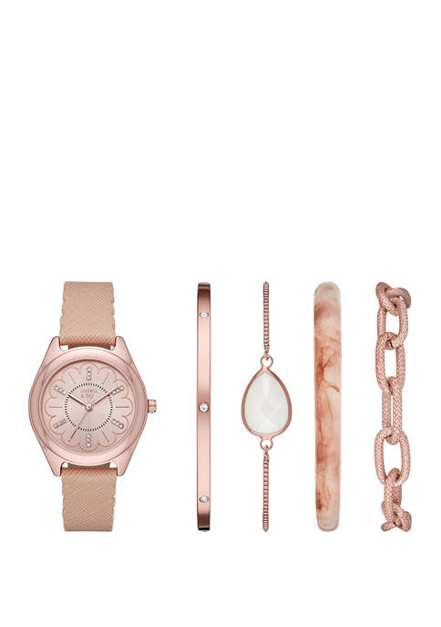 "Blush Rose Gold ""Periwinkle"" Watch and Bracelet Set"