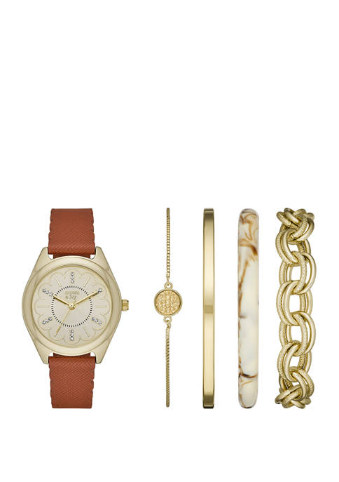 """Cognac, Gold and Tortoise """"Periwinkle"""" Watch Set"""