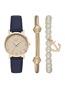 Navy And Gold-Tone Anchor Charm Watch Set