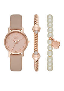 Blush and Rose Gold-Tone Quatrefoil Charm Watch Set