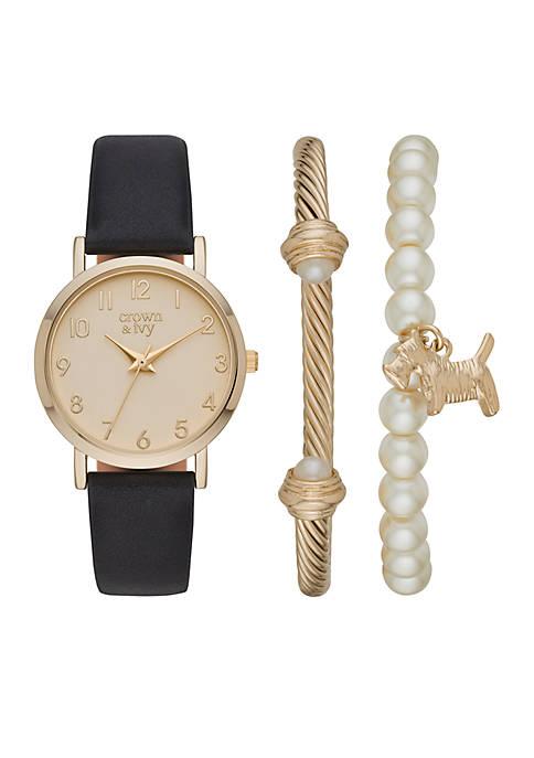 Gold-Tone Pearl Scottie Dog Bracelet and Watch Set