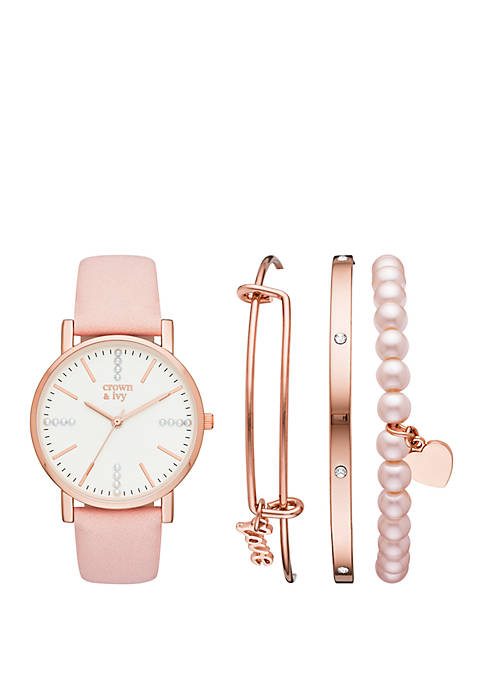 Rose Gold and Blush Strap Watch Set with Love Charm