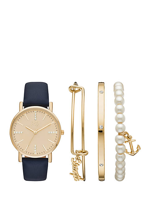 Gold and Black Strap Watch Set with Strength Charm