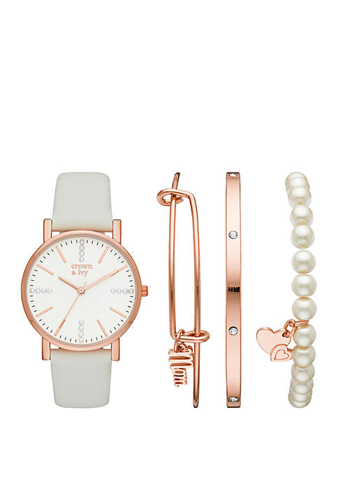 Rose Gold and White Strap Watch Set with Mom Charm