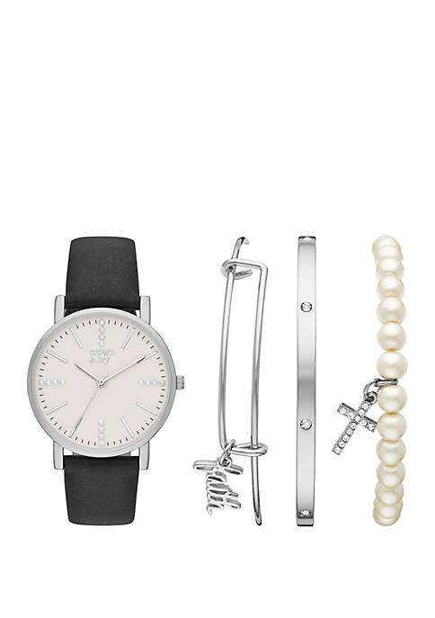 Silver and Black Strap Watch Set with Faith Charm