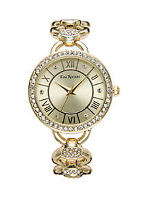 Glitz Round Link Bangle Bracelet Watch