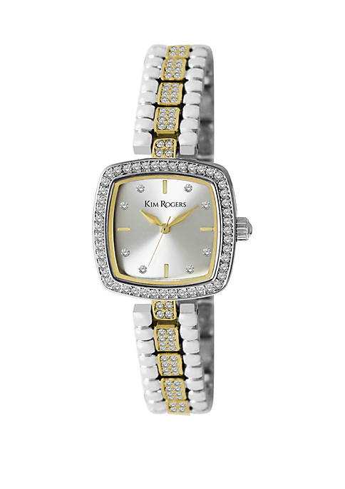 Womens Cushion Shape Crystal Watch