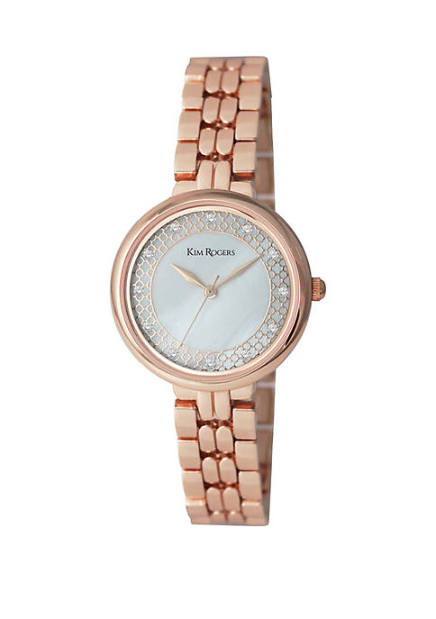 Kim Rogers® Genuine Mother of Pearl Bracelet Watch