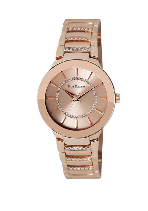 Rose Gold Bracelet Watch with Crystal Accents