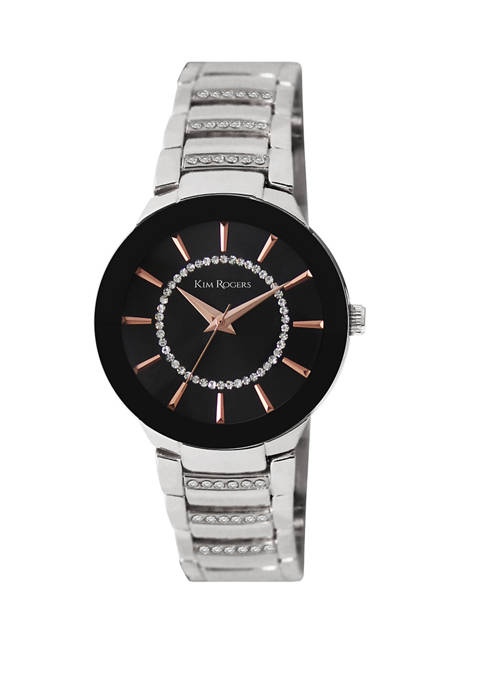 Womens Silver Tone Bracelet Black Dial Accent Watch