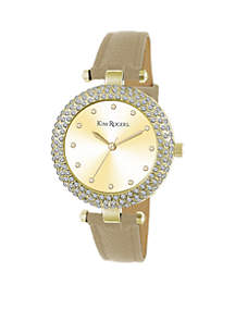 Women's Glitz Gold Tan Textured Strap Watch