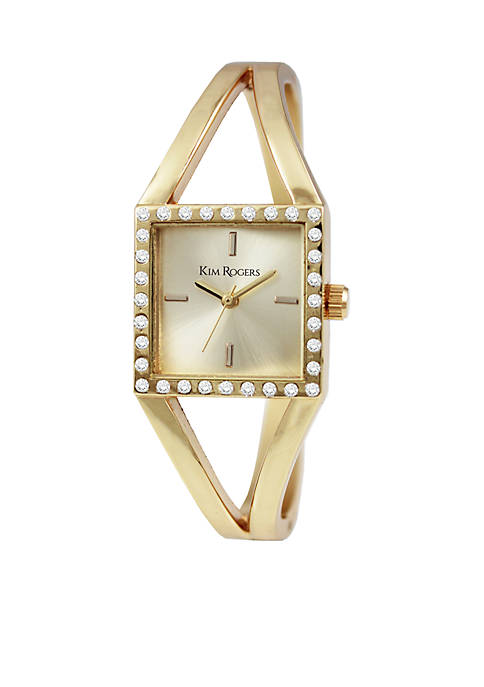Womens Square Case Hinged Bangle Watch