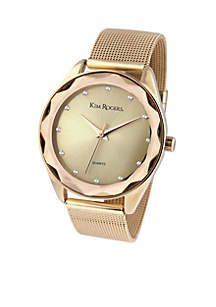 Gold-Tone Faceted Bezel Mesh Watch