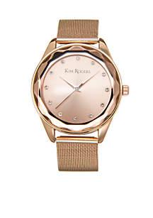 Rose Gold-Tone Mesh Diamond Cut Case Edge Watch