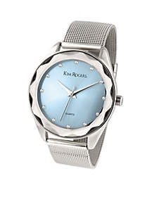 Women's Silver Mesh Diamond Cut Case Mesh Blue Dial Watch