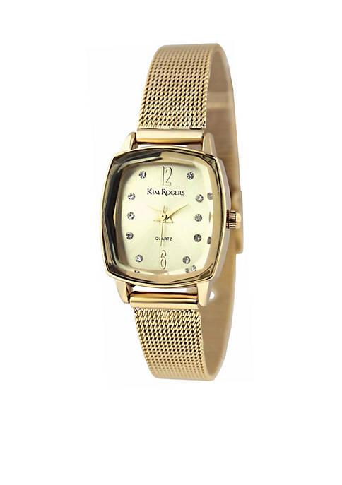 Womens Gold Tone Faceted Bezel Cushion Shape Mesh Watch