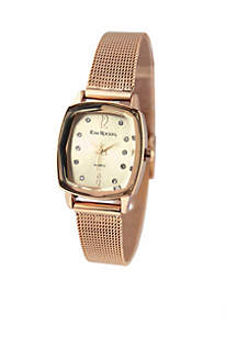 Women's Rose Gold-Tone Faceted Bezel Adjustable Mesh Watch
