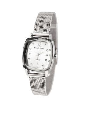 Kim Rogers Women Silver-Tone Faceted Bezel Mesh Rectangle Shape Watch