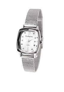 Silver-Tone Faceted Bezel Mesh Rectangle Shape Watch