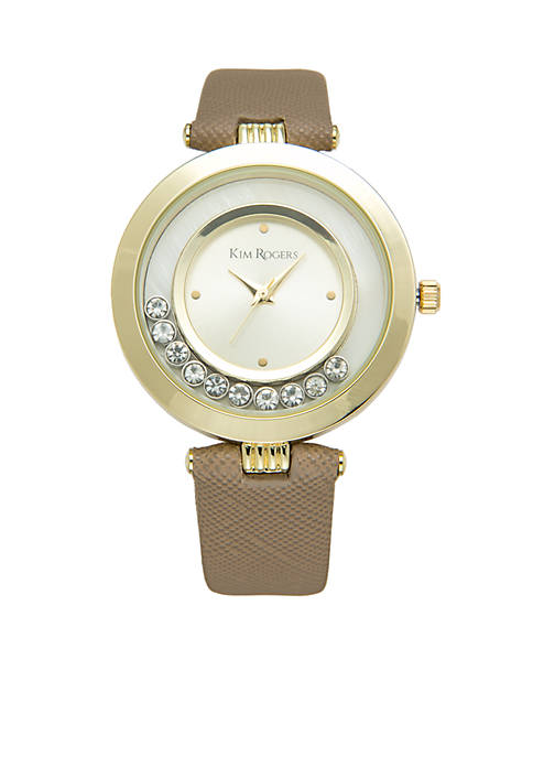 Gold-Tone Crystal Dial Leather Strap Watch