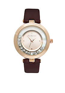 Rose Gold-Tone Crystal Dial Leather Strap Watch