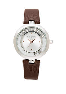 Silver-Tone Moving Crystal Dial Watch