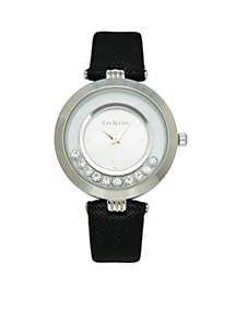 Silver-Tone Crystal Dial Leather Strap Watch