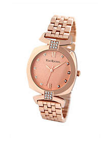 Rose Gold-Tone Cushion Shaped Crystal Accent Watch