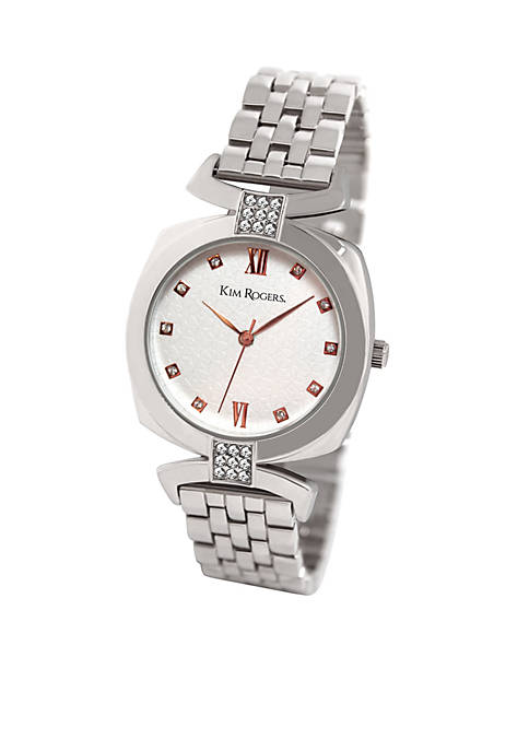 Silver-Tone Bracelet Watch with Rose Gold Markers