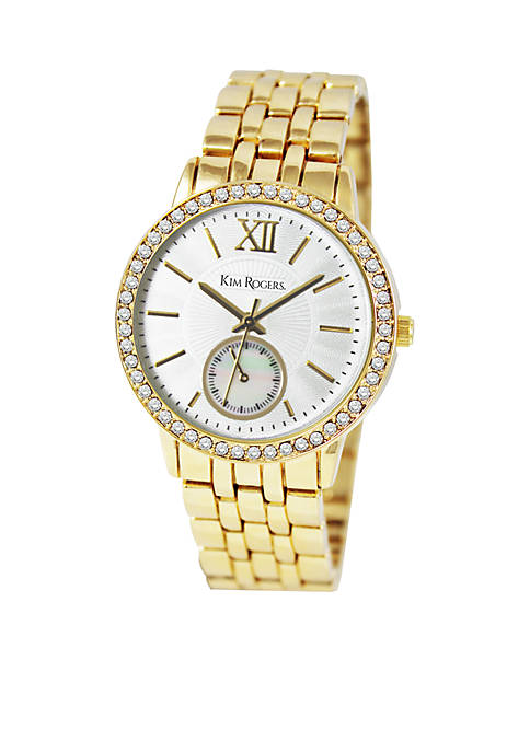 Kim Rogers® Womens Boyfriend Glitz Metal Gold Watch