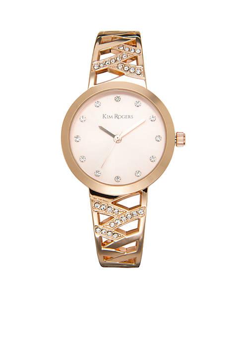 Rose Gold-Tone Glitz Filigree Bangle Watch