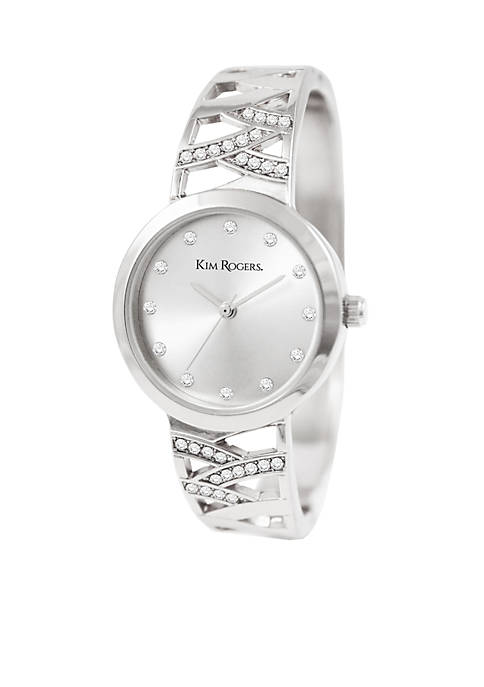 Silver -Tone Crystal Accent Webbed Bangle Watch