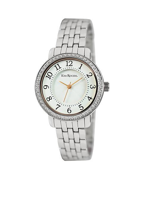 Kim Rogers® Womens Silver-Tone Glitz Bracelet Watch