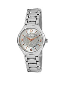 Women's Silver Bracelet With Glitz Circle On Dial Watch
