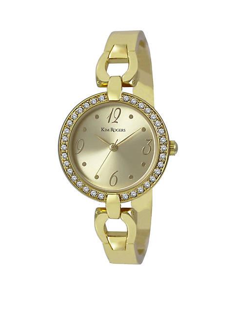 Womens Crystal Bezel Adjustable Bangle Watch