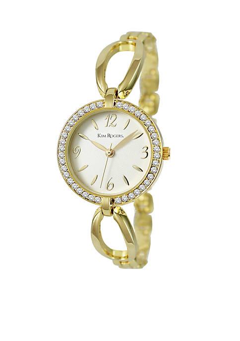 Kim Rogers® Womens Gold-Tone Glitz Bangle Watch