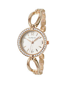 Women's Rose Gold-Tone Glitz Bangle Watch