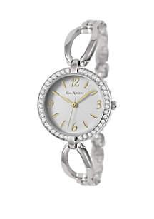 Faux Bangle Glitz Silver-Tone Watch